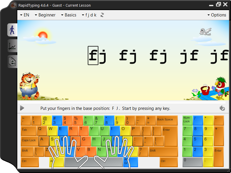 Screenshot vom Programm: Rapid Typing Tutor