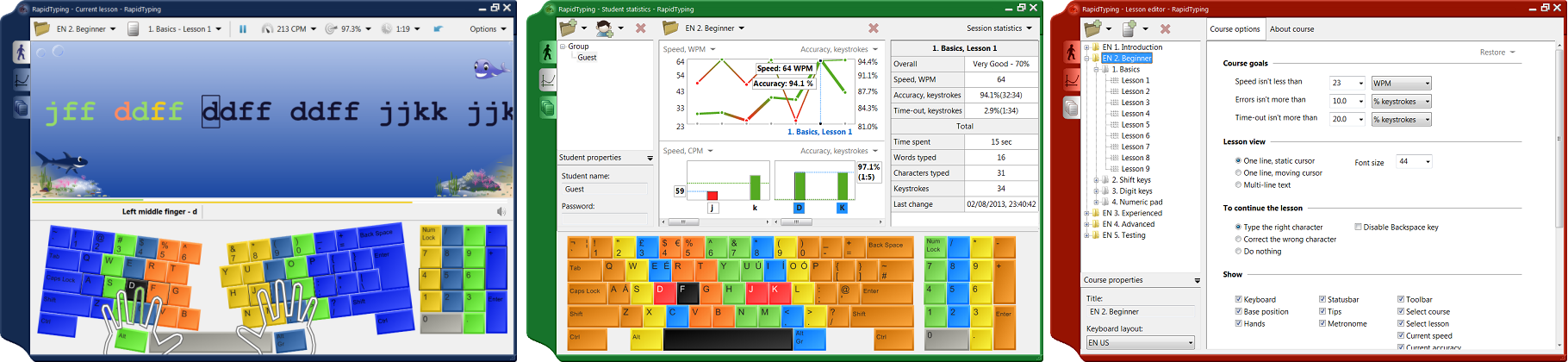 Typing Tutor: Description of free touch typing tutor RapidTyping